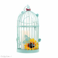 "Turquoise #Bird #Cage #Birdcage Metal Candle holder Vintage Look Rustic #Wedding Centerpiece Pedestal Shabby Chic Hanging 14.5"" by openvintageshutters, $33.99 USD"
