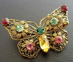 Signed MADE IN CZECHOSLOVAKIA Vintage Brooch Pin Glass Rhinestone Butterfly