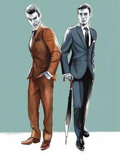 Menswear Illustration by Fernando Vicente Fashion Design Sketches, Illustration Sketches, Fashion Illustrations, Mens Fashion Suits, Costume Design, Fashion Art, Glamour, Disney, 40s Style
