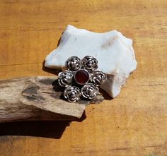 Sterling Silver Roses Cluster Ring with Garnet by veiledjewelry, $58.00
