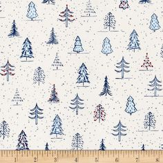Naughty Or Nice? Christmas Trees Ecru/Light Blue from @fabricdotcom  Designed by Ink & Arrow Fabrics for Quilting Treasures this festive cotton print is perfect for quilting, apparel and home decor accents. Colors include navy, light blue, orange and ecru.