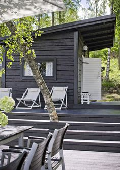 The Finnish holiday holidays include a beach sauna or a sauna cabin. Our holiday home … – Garden Types - How to Make Gardening Design Sauna, Outdoor Sauna, Summer Cabins, Container House Design, Garden Types, Black House, Porches, Outdoor Living, Outdoor Spaces