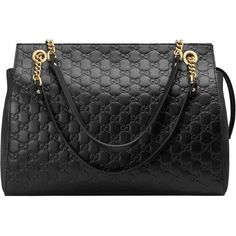 Gucci Gucci Signature Large Shoulder Bag (7.865 BRL) ❤ liked on Polyvore featuring bags, handbags, shoulder bags, black, totes, women, zipper tote, gucci shoulder bag, leather totes and zip tote bag