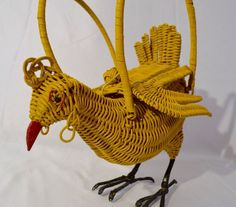 Vtg Mid Century 50s Wicker Figural Yellow Chicken Purse | eBay