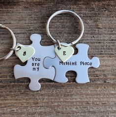 Puzzle piece Keychains set you are my missing piece by CMKreations