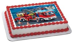 Lego Fire Truck Edible Birthday Cake OR Cupcake Topper – Edible Prints On Cake (EPoC)
