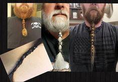 Mens Beard Lacer Black on Black beard accessory Beard beard accessories Light Beard Styles, Viking Beard Styles, Long Beard Styles, Hair And Beard Styles, Best Beard Styles, Hair Styles, Bald Men With Beards, Bald With Beard, Black Men Beards