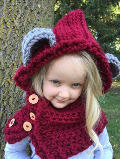 Bear Hooded Cowl by EllaGracesPlace on Etsy