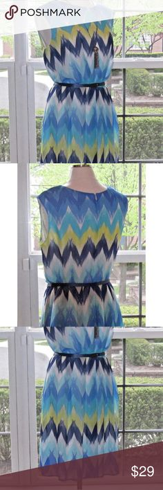 🎉FLASH SALE🎉 DRESSBARN chevron fit & flare dress Prestine condition.  Dress measurements: length - 44, hips - 39, bust - 40, waist - 36. Cute chevron print in yellow, Teal, navy and white.  Lined. Sleeveless. Belt included. Dress Barn Dresses