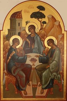 Holy Trinity - Old Testament - Abraham Religious Images, Religious Icons, Religious Art, Byzantine Icons, Byzantine Art, Early Christian, Christian Art, Paint Icon, Russian Icons