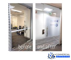 BEFORE AND AFTER >> One of our more frequent job requests, is the printing and install of custom branding and entrance logos to offices.   It's a simple process -->  * the client sends us the logo * we print it on our wide format printer * we install the next day.   Easy as that.  We didn't even need to visit site prior to this install, making it an extremely quick and cost effective way for them to make a bold branding impact.   Talk to our team today about how we could assist with branding… Frosted Glass, Offices, Entrance, Printer, Branding, Logos, Simple, Easy, Etched Glass