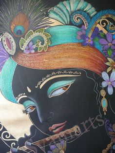 Lord of love with flute Krishna in black and gold devotional