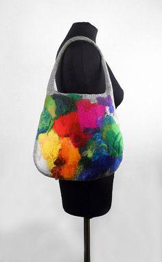 Felted Bag Multicolor Handbag Nunofelt Purse wild Felt Nunofelt Nuno felt Silk rainbow fairy fantasy shoulder bag Fiber Art boho
