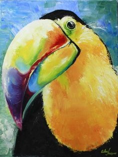 Bird Painting Acrylic, Cow Painting Colorful, Painting & Drawing, Watercolor Paintings, Lotus Artwork, Animal Paintings, Bird Paintings, Oil Painting Gallery, Tropical Birds