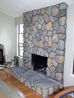 Cultured Stone ( Lake Tahoe River Rock with Gray Herarthstones) Fireplace Facing, Cabin Fireplace, Fireplace Update, Farmhouse Fireplace, Rock Veneer, Stone Veneer Fireplace, River Rock Fireplaces, Sandstone Wall, Wall Cladding