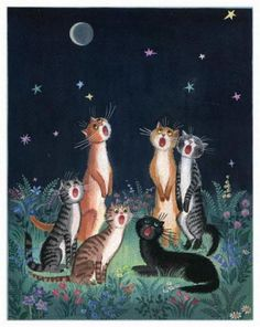 portraits des chats dans la nuit, painting of cats at night, by tatyana rodionova