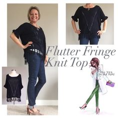 Fringe Summer Knit Top  Size: S/M/L NWT this navy flutter fringe top is fabulous!!! Wear with jeans, capris or shorts. It could also be super cute over your favorite bikini! Imported. 60% cotton, 40% acrylic. Don't forget 20%off bundles! That Mom Boutique Tops Tees - Short Sleeve