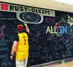 Are you #ALLin216? Come sign our @rustoleumusa chalkboard outside section 201!