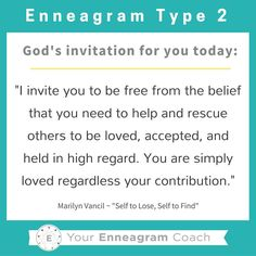 """Enneagram #Type2 this is the gospel message for your heart today! Each personality has particular thoughts and feelings that hinder what the liberating gospel message is saying to them. Read this TRUTH and allow it to sink deep into your soul. Ask the Holy Spirit to enable you to hear this message every day and expand your ability to embrace His truth and love for you because of what Christ has done for you and in you. Thanks to Marilyn Vancil and her book,""""Self to Lose, Self to Find""""…"""