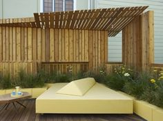 pergola canopy over outdoor daybed