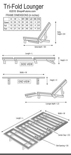 Tri Fold Hardwood Futon Frame Twin Size