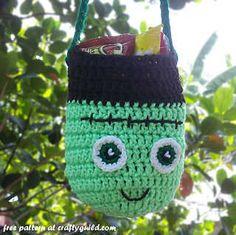 Frankenstein Trick or Treat Bag.# free # crochet  pattern link here