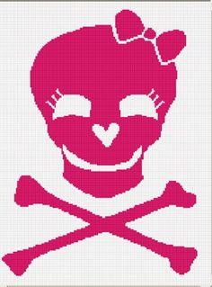 Chella Crochet Skull Cross Bones with Bow Blanket Afghan Crochet Pattern Graph. $3.50, via Etsy.