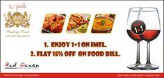 Enjoy 1+1 on IMFL & flat 15% off on food.