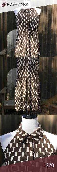 """Diane von Furstenberg Silk Halter Dress Diane von Furstenberg large houndstooth pattern Halter Dress. Button up bodice, no back, very sexy. Little breast pocket. 100% Silk. Brown/Cream colors. Dress has stretch. Very soft! Measurements approx. Back of dress at top of waist 16"""", back of dress to hem 24"""", hip 21"""" (laying flat), length from neck to hem 35"""". Mannequin 34x26x35. Diane Von Furstenberg Dresses"""