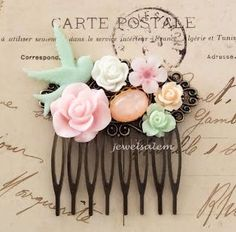 Pink Mint Green Wedding Hair Comb Pastel Peach White Bridal Headpiece Floral Bridesmaid Gift Pastel Green Pink Flower Hair Pin Soft Romantic