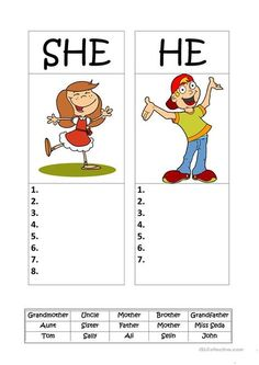 Kids for Worksheets: HE or SHE English Learning Activity for Preschool 2019 English Activities For Kids, English Grammar For Kids, Learning English For Kids, Teaching English Grammar, English Worksheets For Kids, English Lessons For Kids, Kids English, English Language Learning, English Vocabulary