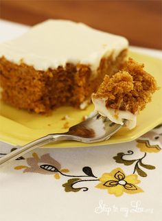 Easy Pumpkin Sheet Cake- you will love how moist and spicy it is. The best part is that it is low fat! www.skiptomylou.org #pumpkinsheetcake #pumpkinrecipes #pumpkin