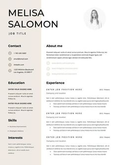 Professional resume template for word Modern resume template If you like this design. Check others on my CV template board :) Thanks for sharing! Modern Resume Template, Resume Template Free, Creative Resume Templates, Creative Resume Design, Interior Design Resume, Nursing Resume Template, Cv Curriculum Vitae, Curriculum Vitae Template Free, Cv Original