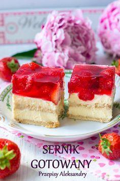 Przepisy Aleksandry: SERNIK GOTOWANY Z GALARETKĄ I OWOCAMI (BEZ PIECZENIA) Polish Desserts, Polish Recipes, Polish Food, Sweet Recipes, Cake Recipes, Dessert Recipes, Sweet Pastries, My Dessert, Food Cakes