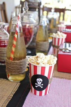 popcorn cups, pirate party, movie night