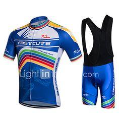 Fastcute Cycling Jersey with Bib Shorts Men's Short Sleeves Bike Bib Shorts Jacket Shorts Shirt Sweatshirt Jersey Bib Tights Tops Quick 2017 - $39.99