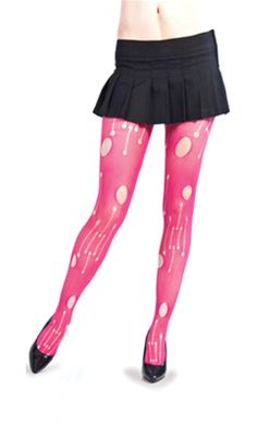 Hole Pattern Tights Hot Pink