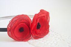 Red Poppies Flower Headband, Red Black Chiffon Hair Flower, Lollipop Flower, Flower Hair Accessory, Girls headband, Women Headband. $17.00, via Etsy.