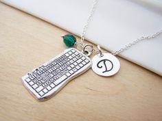 Keyboard Charm Swarovski Birthstone Initial Personalized Sterling Silver Necklace / Gift for Her