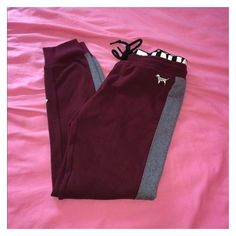 Victoria Secret's PINK jogger legging ❤ liked on Polyvore featuring pants, leggings, jogger pants, legging pants, victoria's secret, purple leggings and pink trousers