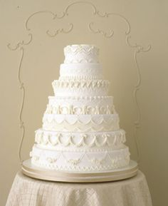 Lambeth-inspired, classic white cake with elaborate piped details. cake by Wendy Kromer for Martha Stewart Weddings. Pretty Cakes, Beautiful Cakes, Amazing Cakes, Simply Beautiful, Absolutely Gorgeous, Cupcakes, Cupcake Cakes, Cake Icing, Buttercream Icing