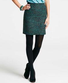 Petite Midnight Tweed Pencil Skirt