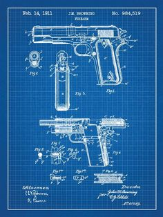 Inked & Screenedposters  #gun #blueprint #poster. If you like UX, design, or design thinking, check out theuxblog.com