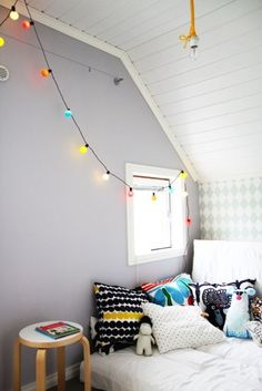 Interior, Beautiful Interior Decoration with Various String Lights: Colorful String Light For White Bedroom Interior