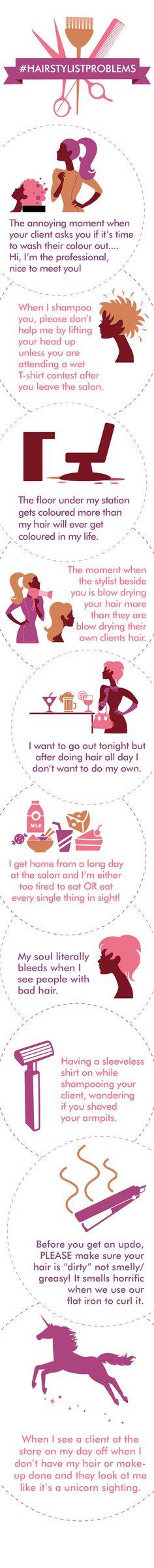 #HairstylistProblems | Hairsytlist | hairdresser | salon problems | hair | hair humor