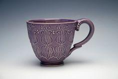 Handmade Coffee mug stamped in purple Violet by KiefferCeramics, $60.00