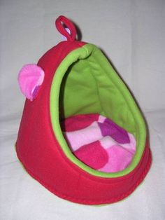 Cute bed = Piggy crash pads/guinea pig bed to sew! Then hang up into guinea pig habitat/cage/domacile/home.