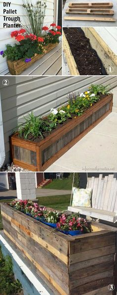 Reuse old wooden pallets to make a trough planter that can be a focus point of your patio.