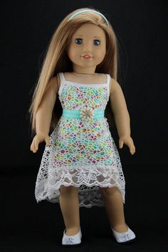 """American Girl doll clothes - High low strappy dress outfit (fits 18"""" doll) (402wht)"""