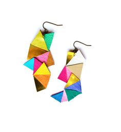 Neon Geometric Earrings Color Block Triangles